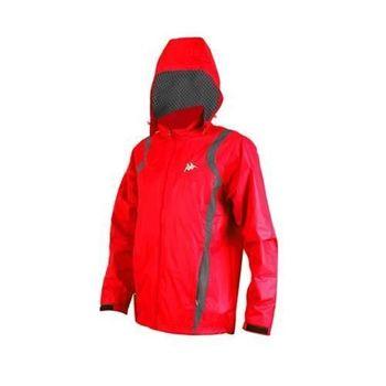【KAPPA】男防風外套-連帽外套 風衣外套 防風 防潑水 雙層 紅白