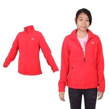 【THE NORTH FACE】女保暖刷毛外套 - 登山 露營 戶外 紅銀