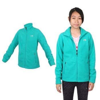 【THE NORTH FACE】女保暖刷毛外套 - 登山 露營 戶外 綠銀