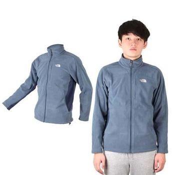 【THE NORTH FACE】男保暖刷毛外套 - 立領外套 登山 戶外 灰藍