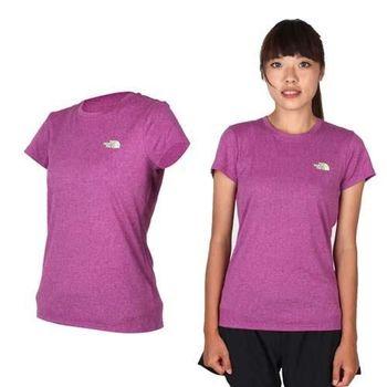 【THE NORTH FACE】女短袖圓領T恤 路跑 慢跑 吸濕排汗 紫青綠