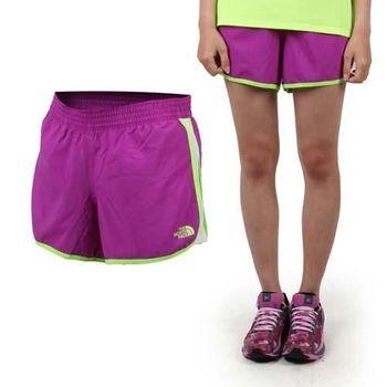 【THE NORTH FACE】女運動短褲-慢跑 路跑 休閒短褲 紫螢光綠