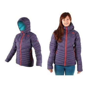 【THE NORTH FACE】女 700FILL 羽絨兜帽外套 保暖防風 深藍橘