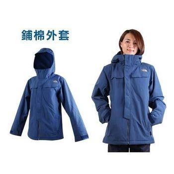 【THE NORTH FACE】女連帽外套- 保暖 鋪棉 防風 防潑水 深藍