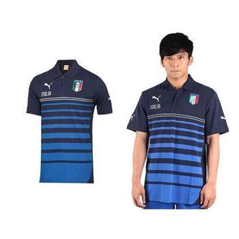【PUMA】男短袖POLO衫- 短袖T恤 世界盃足球賽 義大利 丈青藍