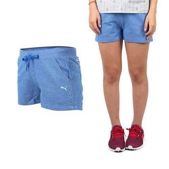 【PUMA】女棉質短褲-棉褲 運動 路跑 瑜珈 慢跑 有氧 藍白蘋果綠