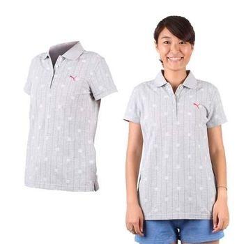 【PUMA】女短袖POLO衫-立領 高爾夫 淺灰桃紅