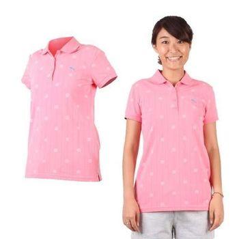 【PUMA】女短袖POLO衫-立領 高爾夫 粉紅湖水藍