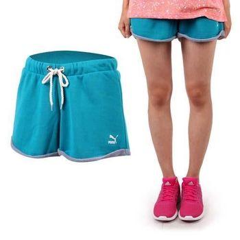 【PUMA】女 運動短褲-棉褲 休閒短褲 湖水綠