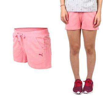 【PUMA】女棉質短褲-棉褲 運動 路跑 瑜珈 慢跑 有氧 粉紅桃紅
