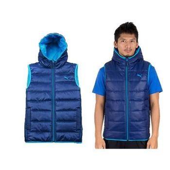 【PUMA】男連帽鋪棉運動背心  寶藍水藍