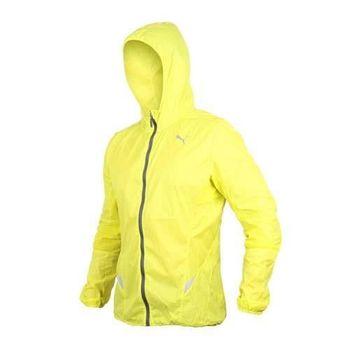 【PUMA】男慢跑系列輕量連帽風衣外套- 路跑 防風 休閒外套 芥末黃灰