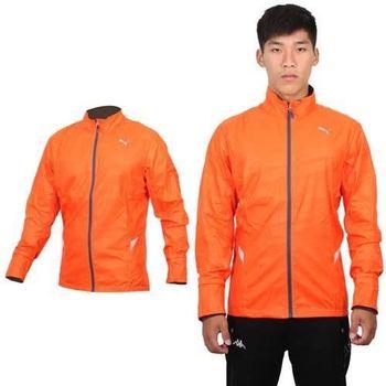 【PUMA】男運動外套-立領外套 慢跑 路跑 風衣外套  橘銀