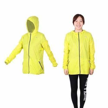 【PUMA】女慢跑系列素色輕量連帽風衣外套 - 路跑 運動外套 芥末黃灰