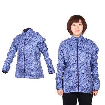【PUMA】女滿版印花立領風衣外套- 慢跑 路跑 防風 紫紅