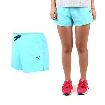 【PUMA】女短褲-棉褲 路跑 慢跑 有氧 瑜珈 天藍深藍