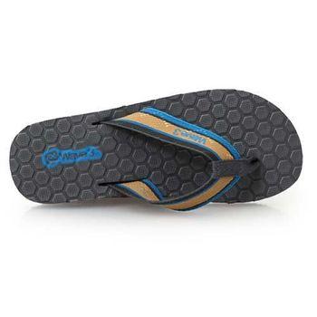 【WAVE3】男瑜珈墊菱格夾層人字拖-拖鞋 夾腳拖 台灣製 灰藍