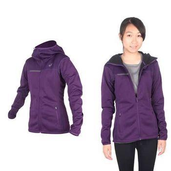 【ASICS】女運動外套- 刷毛 立領外套 保暖 亞瑟士 深紫黑