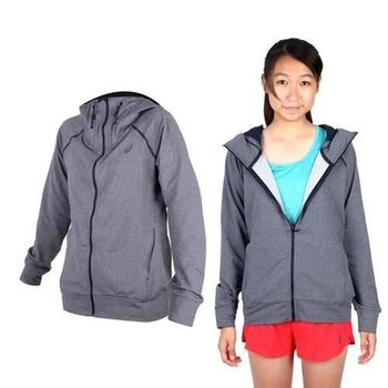 【ASICS】女運動外套- 刷毛 立領外套 保暖 亞瑟士 深灰黑