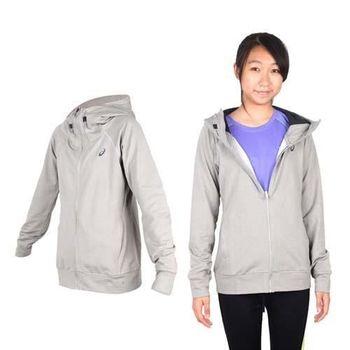 【ASICS】女運動外套- 刷毛 立領外套 保暖 亞瑟士 淺灰黑