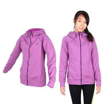 【ASICS】女運動外套- 刷毛 立領外套 保暖 亞瑟士 紫黑