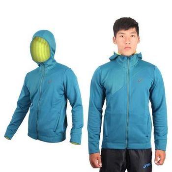 【ASICS】男運動外套  連帽外套 路跑 慢跑 立領 刷毛 保暖 湖水綠
