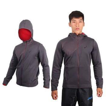 【ASICS】男運動外套  連帽外套 路跑 慢跑 立領 刷毛 保暖 深灰紅