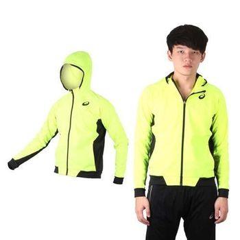 【ASICS】男TI輕薄外套 - 慢跑 路跑 亞瑟士 連帽外套 螢光黃黑