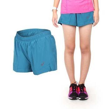 【ASICS】女慢跑平織短褲- 路跑 亞瑟士 藍綠