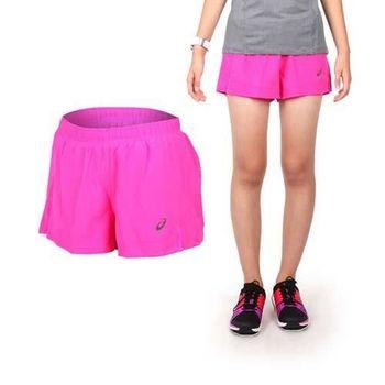 【ASICS】女慢跑平織短褲- 路跑 亞瑟士 桃紅黑