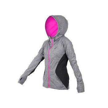 【ASICS】女慢跑外套 - 路跑 亞瑟士 連帽外套 鐵灰亮粉