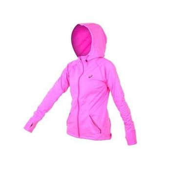 【ASICS】女慢跑外套 - 路跑 亞瑟士 連帽外套 亮粉灰