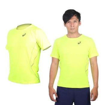 【ASICS】LITE-SHOW 男慢跑短袖T恤 - 路跑 短T 亞瑟士 螢光黃黑