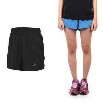 【ASICS】LITE SHOW 女運動短褲-慢跑 路跑 平織 亞瑟士 寶藍銀