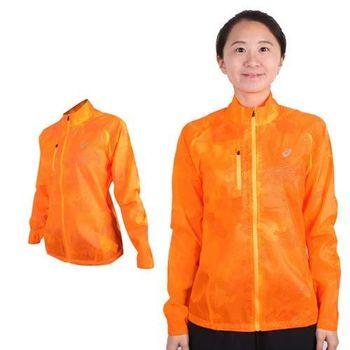 【ASICS】女立領外套 - 慢跑 輕薄 風衣 亞瑟士 螢光橘
