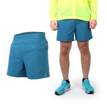 【ASICS】男慢跑平織短褲 - 路跑 休閒短褲 亞瑟士 藍綠