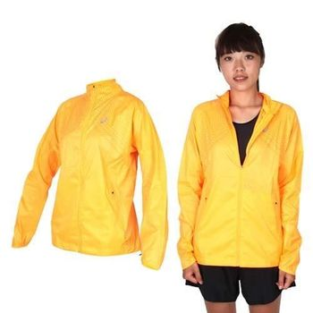 【ASICS】女慢跑平織外套- 立領 慢跑 路跑 陽光橘