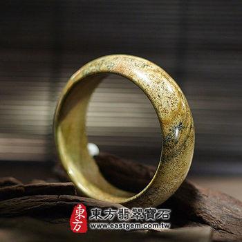 【東方翡翠寶石】圖畫石天然手鐲玉鐲(黃色,圓鐲#17.5)WO008