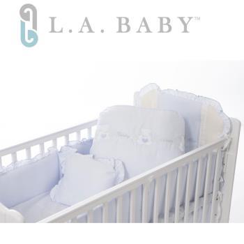 【美國 L.A. Baby】天使熊純棉七件式寢具組(L)(MIT 藍色/粉色/米色)