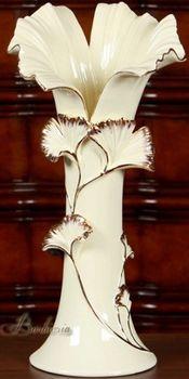 歐式複古陶瓷花瓶葉口花器擺件