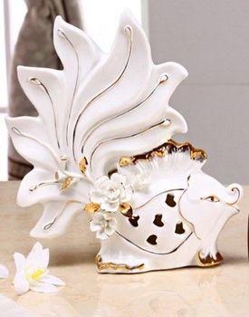 歐式創意接吻魚擺件高檔時尚家居裝飾品陶瓷工藝品