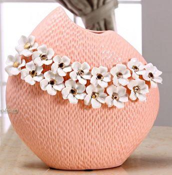 少女系列粉紅描金花器陶瓷工藝品歐式花插
