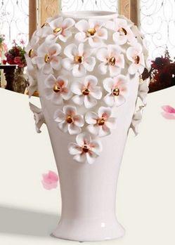 歐式複古陶瓷花瓶裝飾品大號落地花器