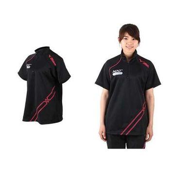 【MIZUNO】WARM UP 女短袖運動T恤 排球 羽球 熱身 黑桃紅