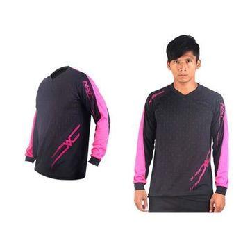 【MIZUNO】男排球長袖T恤-運動T恤 美津濃 NXT系列 黑桃紅