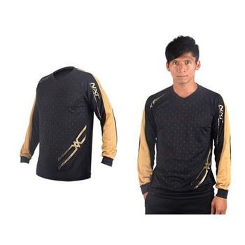 【MIZUNO】男排球長袖T恤-運動T恤 美津濃 NXT系列 黑金