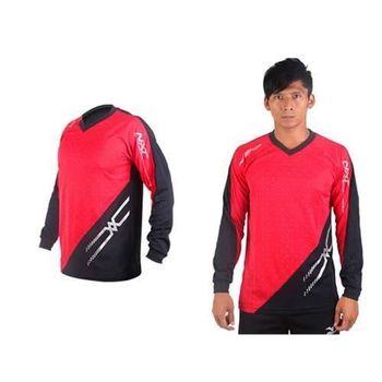 【MIZUNO】男排球長袖T恤-運動T恤 美津濃 NXT系列 紅黑