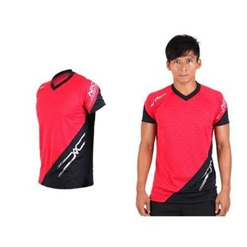 【MIZUNO】男排球短袖T恤-運動T恤 美津濃 NXT系列 紅黑
