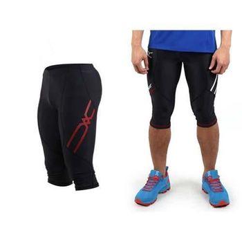【MIZUNO】日本進口 男七分緊身褲-慢跑 路跑 緊身長褲 美津濃  黑紅