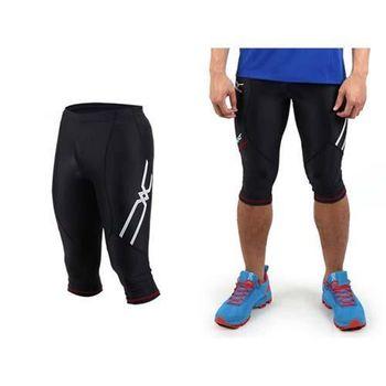 【MIZUNO】日本進口 男七分緊身褲-慢跑 路跑 緊身長褲 美津濃  黑白紅